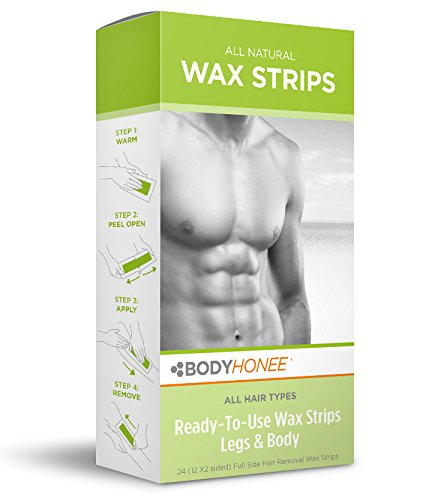 Hair Removal Wax Strips Legs + Body, 24 Count BodyHonee NA