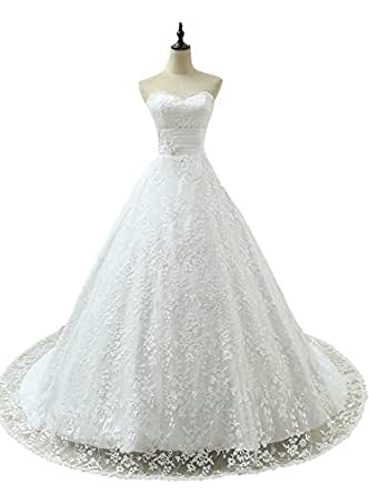 Angel Formal Dresses Women's Sweetheart Pleated Long Lace Wedding Dresses For Bride(16,White)