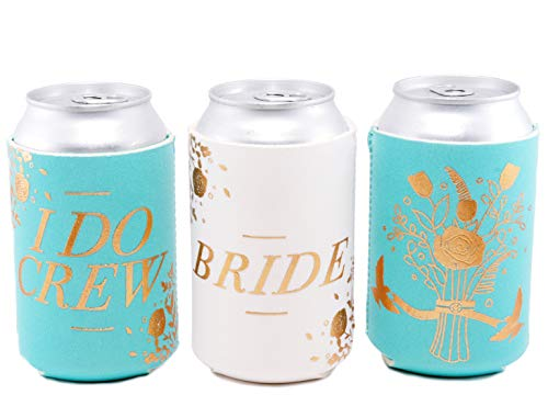 (Bachelorette Party I DO Crew 11 Pack, Bridal Shower, Wedding Favor Beverage Can Cooler | 10 Turquoise, 1 White Bride | Insulating Drink Sleeve for Cans & Bottles | Decorations,)