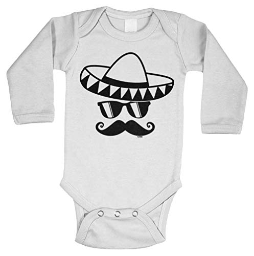 Tcombo Sombrero & Mustache - Mexico Mexican Long Sleeve Bodysuit (White, 12 Months) ()