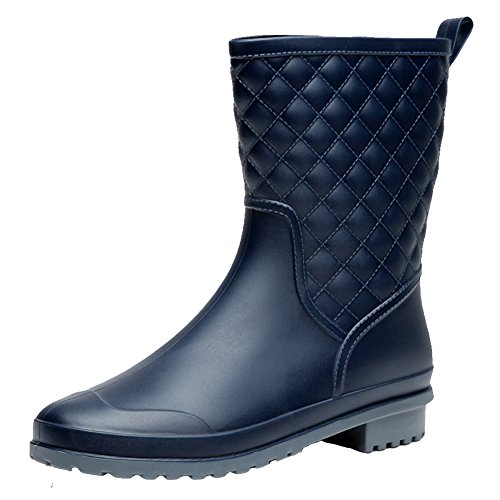 17KM Womens Black Short Anti Slip Rain Boots Mid-Calf Waterproof Rubber Rain Shoes Navy