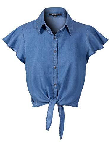 (Instar Mode Women's Short Ruffle Sleeve Tie Knot Front Button Down Chambray Shirts Medium Denim M )