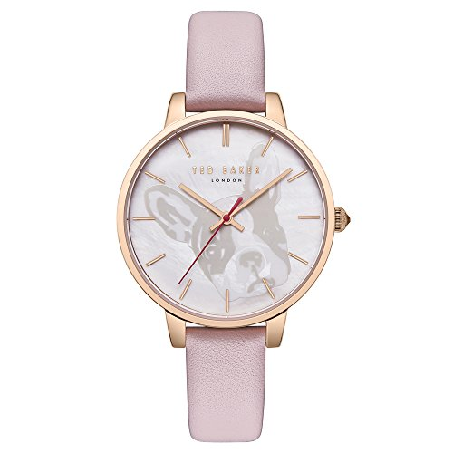 Ted Baker Women's Kate Stainless Steel Analog-Quartz Watch with Leather Strap, Pink, 14 (Model: TE50272011)