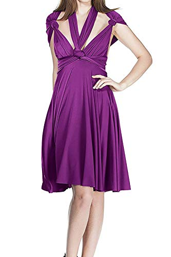 Women's V Neck Short Flowy Transformer Convertible Multi Way Wrap Evening Dress Summer Casual Wedding Bridesmaid Formal Party Grecian Swing Dress Halter Cocktail Dance Gown Purple ()