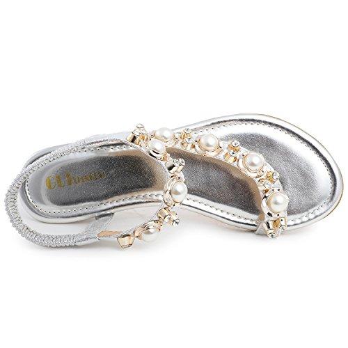 Odema Damen Flache Sandalen Mit Perle Strass Und Knochelriemen Silber