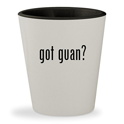Got Guan    White Outer   Black Inner Ceramic 1 5Oz Shot Glass