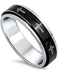 Spinner Cross Christian Jesus Love Ring New 316L Stainless Steel Band Sizes 6-13