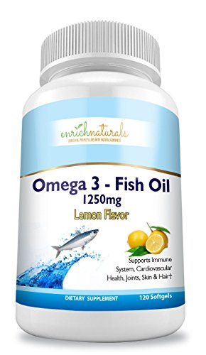 Fish Oil Lemon Flavor - enrich naturals - Omega 3 Fish Oil Lemon Flavor Softgels 1250mg 120 Capsules - Immune Booster - Supports Heart Health - Eases Joint Pain