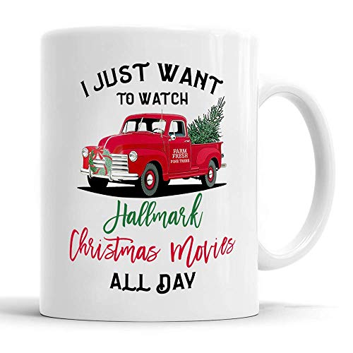 I Just Want To Watch HALLMARK CHRISTMAS Movies All Day, VINTAGE Christmas Tree Truck Mug, Christmas Coffee Mug, Merry Christmas, Holiday Mug ()