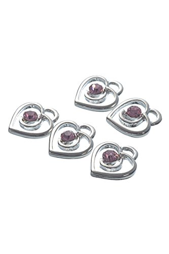 Housweety Rhinestone Heart Pendants 13x12mm