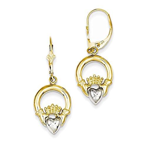14k Two-tone Claddagh Leverback Earrings