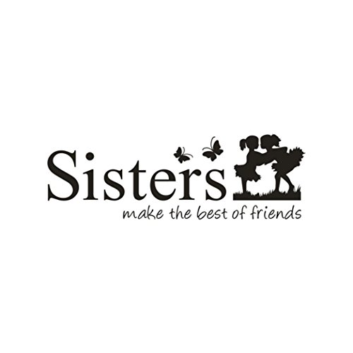 Yeefant Wall Sticker, Sisters Make the Best of Friends PVC Wall Sticker Home Decor DIY Art for Bedroom Bathroom Kitchen Living Room TV Background,Two Little Girl Hug Each Other,24 x 8 Inch (Sisters Make The Best Friends)
