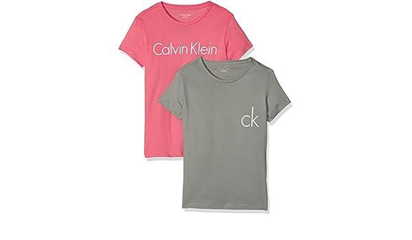 Calvin Klein 2 Pack SS tee, Top de Pijama Niñas, (1 Pnk Lmnd/ 1 MDM Gry 613), 122 (Talla del Fabricante: 6-7): Amazon.es: Ropa y accesorios