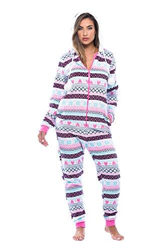6342-10168-XL Just Love Adult Onesie / Pajamas, X-Large, White - Heart Fairisle -