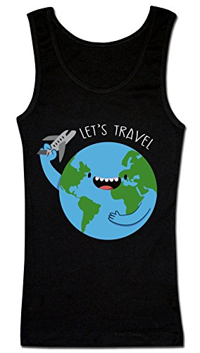 Let's Travel Around The World T-shirt senza maniche da donna