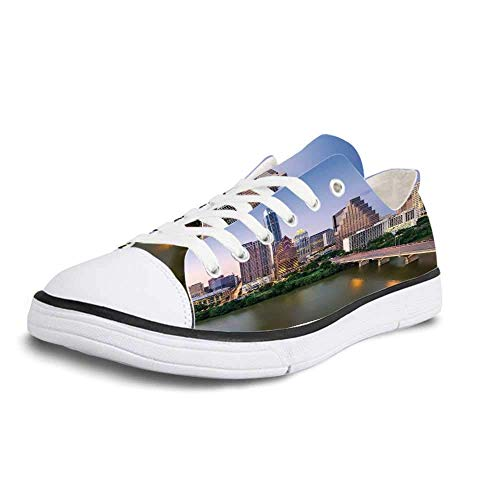 Canvas Sneaker Low Top Shoes,Modern Austin Texas American City Bridge Over The Lake Skyscrapers USA Downtown Picture Women 11/Man 8