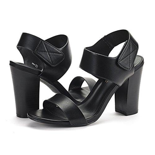 Heel Women's Chunky Pu Sandals Pump Mid PAIRS Open DREAM Toe Black PqSWwf5nY
