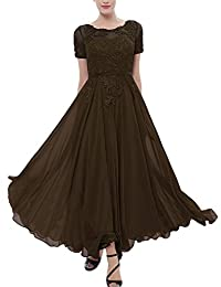 Pretygirl Womens Chiffon Ankle-LengthBridesmaid Dress with Lace Evening Prom Dress