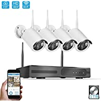 Security Camera System Wireless,4PCS Megapixel 960P Wireless Outdoor IP Camera System 100ft (30m) Night vision with 4CH Video   Security ITB HDD Support Smartphone Remote view
