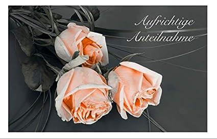 Merz Designkarten 10 Stück Einfühlsame Premium Trauerkartenbeileidskarten Im Set Mit 10 Edlen Weißen Umschlägen Aufrichtige Anteilnahme