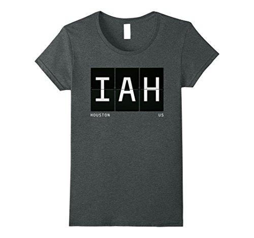 Womens IAH Houston Texas US Airport Code World Traveler T Shirt Large Dark - Airport Shops Iah