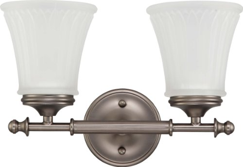 Nuvo Lighting 60/4012 Two Light Teller Vanity with Frosted Etched Glass, CUL Damp Location, Aged (Aged Pewter Two Light)