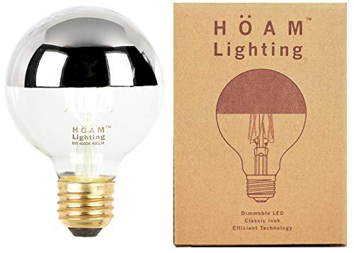 HOAM Lighting Silver Dipped Edison Bulb, Dimmable, 6W LED is 60 Watt Incandescent Equivalent, 4000K Warm White Light, Energy Efficient, 110V 120V E26 E27 Base (Silver Globe Bulb)