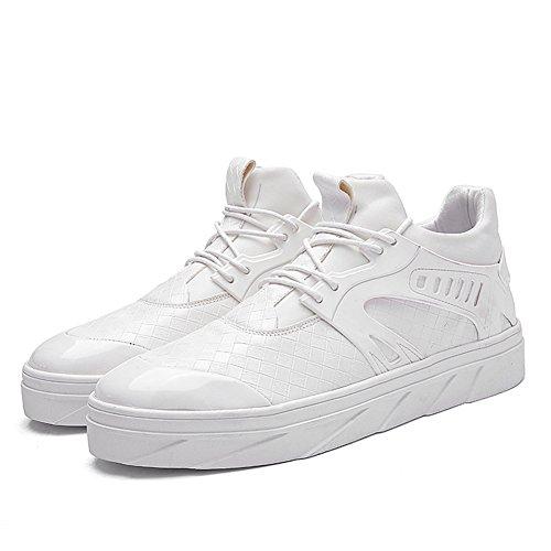 Go-tour Heren Geweven Leer Breien Mode Sneakers Vrijetijdsschoenen Wit 1