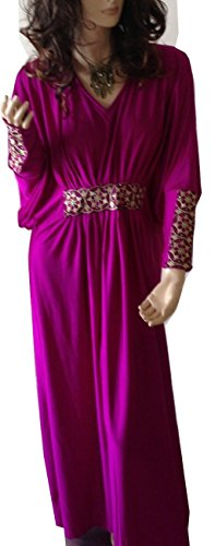 Cool Kaftans 2 Piece Batwing Embellished Ladies Long Silky Dress Hijab (Purple)