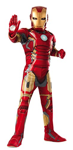 Child Avengers 2 Iron Man Muscle Chest Costume with Gloves (Medium) (Tony Stark Halloween Costume)