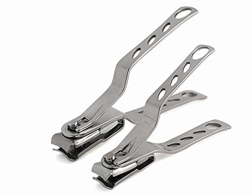 Morcare Best Long Handle Nail/Toenail Clipper for Men and Women Seniors with Thick Toenails (Swivel Head Design Provide Precision Cut) (Set of 2) (Long Handled Toenail Clippers)