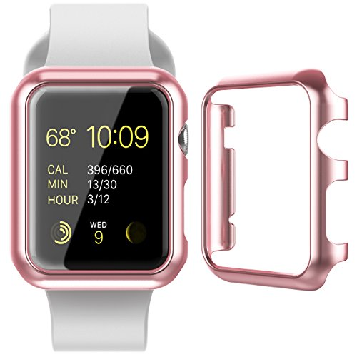CinoCase Apple Watch Series 1 / 2 Case, 38mm Thin Fit Snap-On PC Hard Protective Bumper Case Premium Slim & Light Scratch-Resistant and Shockproof Cover for Apple Watch Series 1 / 2 (Rose Gold)