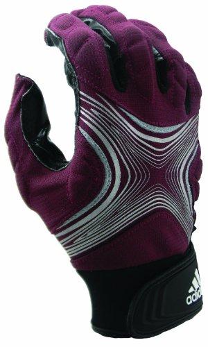 adidas Powerweb 2.0 Football Receiver Gloves, Medium, Maroon/Silver