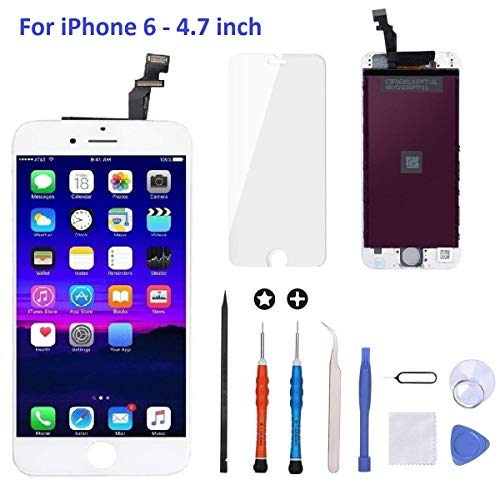 iPhone 6 Screen Replacement White,Goldwangwang 4.7inch LCD Touch Screen Digitizer Replacement Fully Frame Display Assembly Set with Repair Tool kit + Tempered Glass Screen Protector + Instruction (Lcd Iphone 6 White)