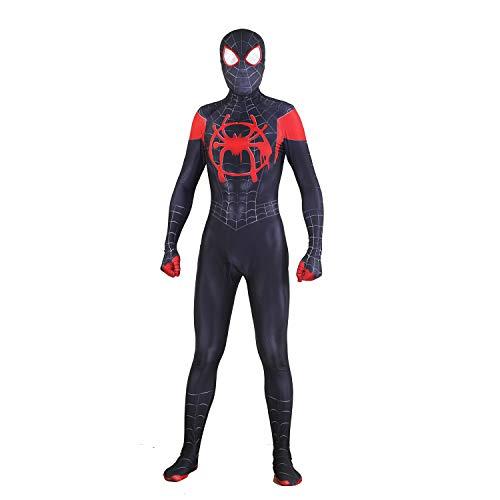 MYanimec Unisex Lycra Spandex Halloween New into The Spider Verse Miles Morales Cosplay Costumes Adult/Kids 3D Style (Kids-XL) Black