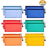 24 Pieces 6 Colors Plastic Zipper File Bags Waterproof Plastic Double Layer for Cosmetic Makeup Office Supplies and Travel Accessories