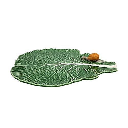 Bordallo Pinheiro Cabbage Leaf with Snail Plate, Green