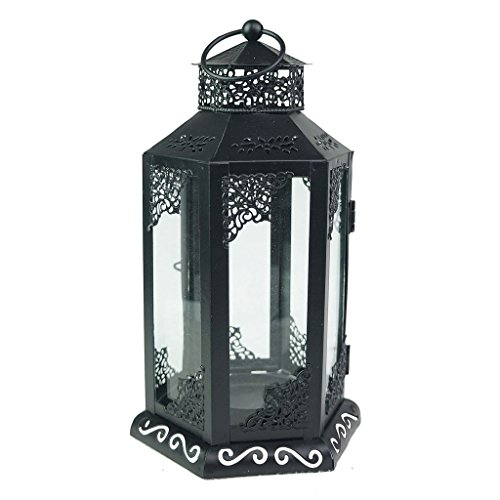 Tandi 6 Panels Decorative Glass Metal Candle Holder Lantern , Black Large -