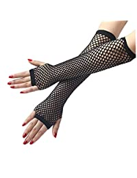 Nylon Fishing Net Half Finger Gloves Punk Long Sexy Mittens For Nightclub Stage
