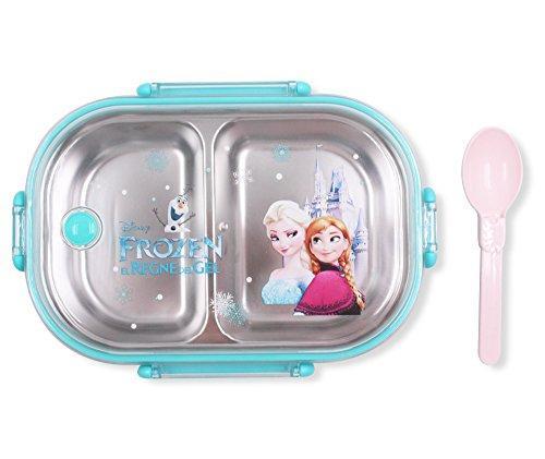 Finex Frozen Blue Bento Box Container Set with Clear Lid & Spoon - Princess Elsa Anna Olaf Snowman (Disney Frozen Lunch Box)