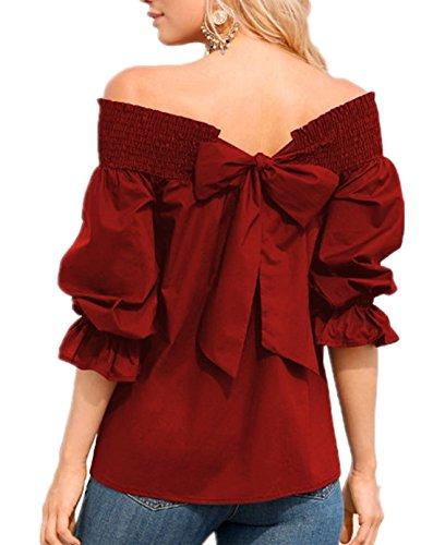 shirt Moda Scollo Vino Tinta Tie Camicie Donna Mezza Estate Camicetta Unita Oufour Manica Barca Rosso Con Casual T Bow Top Bluse Blouse A 80NnOvmw