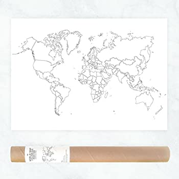 Amazon world map travel color in chart poster 24x36 posters plain outlines political map of the world to color in as travel map sales map or educational help gumiabroncs Gallery