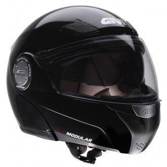 Givi X08 FLIP FRONT MOTORCYCLE HELMET MOTORBIKE CRASH LID J&S (MEDIUM M 58 CMS, METALLIC BLACK)