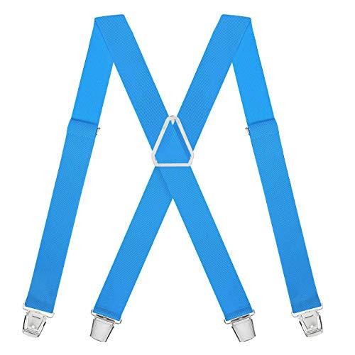 HDE X-Back Suspenders for Men Adjustable Clip-On Elastic Shoulder Strap Braces (Sky Blue, 42 inches)