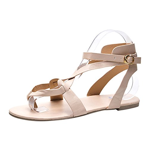 (2019 Women's Gladiator Sandals, Cross Strappy Ankle Strap Open Toe Leather Flat Sandals Thong Buckle Sandals ❤️Sumeimiya Beige)