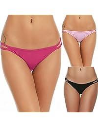 Ekouaer Bikini Panty Womens Seem Free String Microfiber Briefs 3 Pack Assorted Colors