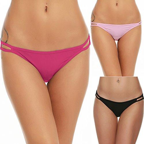 Ekouaer Bikini Panty Womens Seam Free String Microfiber Briefs, 3 Pack-black/Pink/Rose Red, X-Large ()