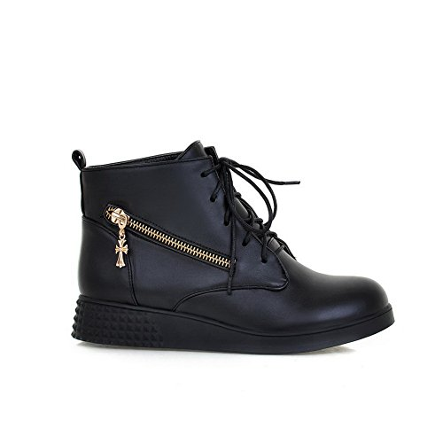 Leather Imitated Ornament Boots Girls Casual AdeeSu Heels Low Black Metal 0BnnWqA