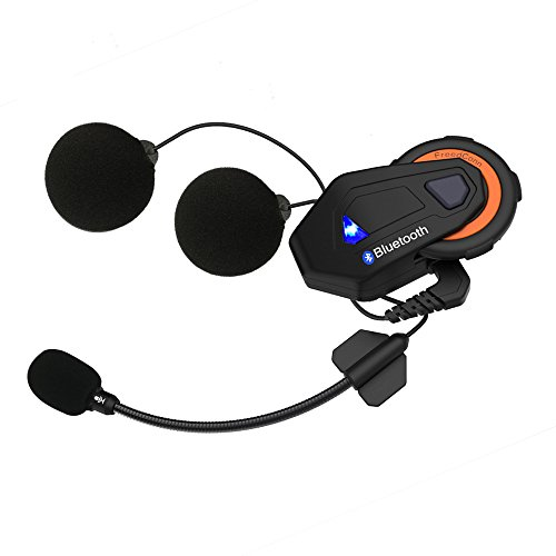 Helmet Communication Systems Group Intercom, Waterproof 1500M T-MAX Helmet Bluetooth Headset Talking Intercom Handsfree for Motorcycle Skiing (Full Duplex, 6 Riders Pairing, FM Radio, 1 Pack)