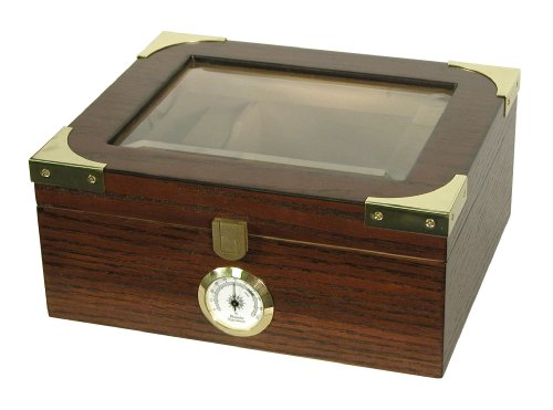 Desktop Humidor, Capri Elegant, Tempered Glasstop, Cedar Spanish Divider, Brass Ring Glass Hygrometer, Holds 25 to 50 Cigars, by Quality Importers